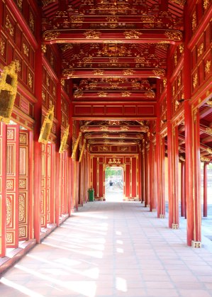Vividly painted walkway in the Hue imperial citadel.