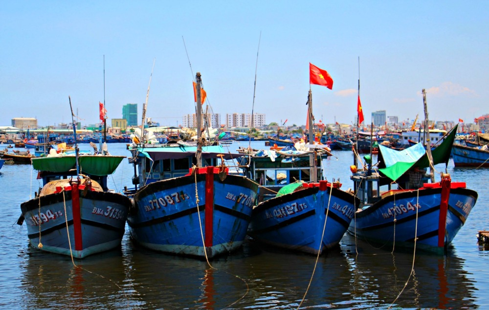 Docked boats in Da Nang, a city a few miles from Hoi An
