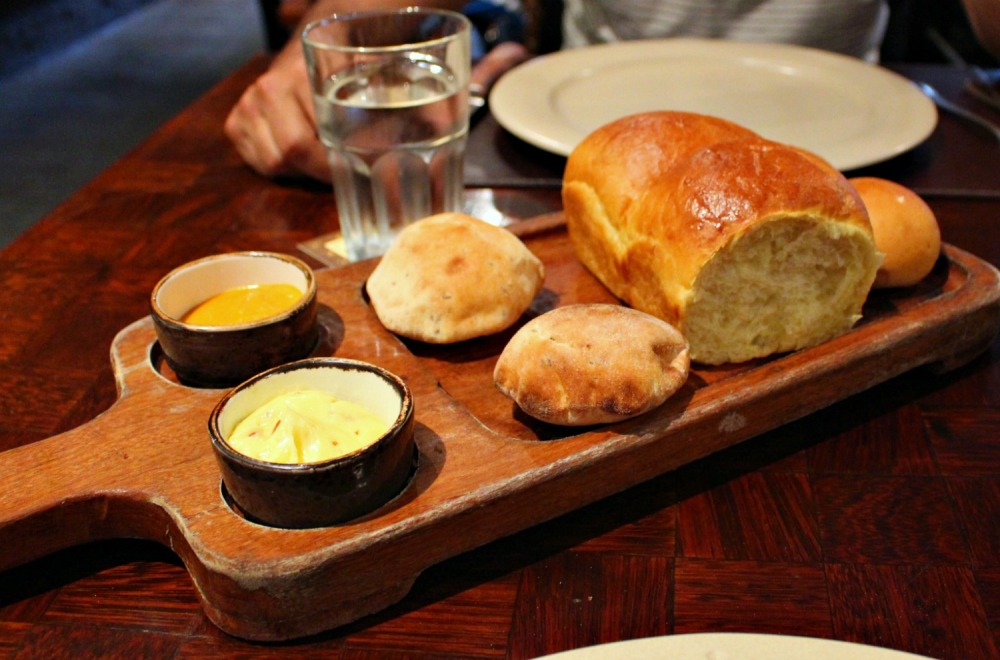 A variety of breads and butters at Panchita