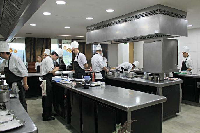 the kitchen at Azurmendi (Spain)